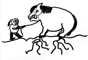Ponyreiten in der Halle